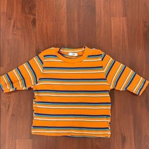 Orange striped cropped t-shirt (Size S)